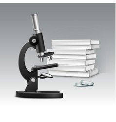 microscope with books vector image
