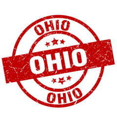 Ohio red round grunge stamp vector