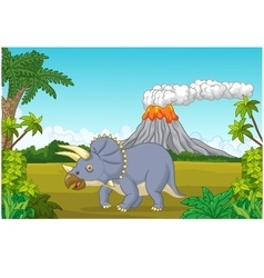 Prehistoric scene with triceratops cartoon and vol vector image
