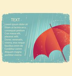 rain with red umbrellavintage poster on old paper vector image vector image