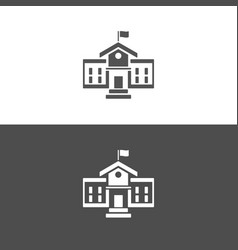 School building icon on dark and white background vector