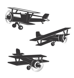 Set of airplane icons isolated on white background vector