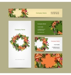 Set of business cards design with vegetable frame vector image vector image