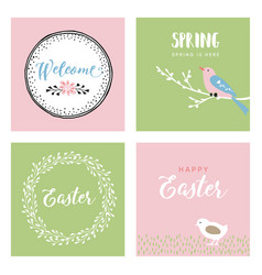 set of hand drawn easter greeting cards vector image vector image