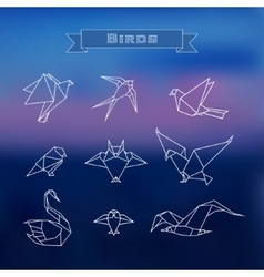 Set polygonal birds vector image
