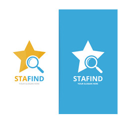 star and loupe logo combination leader and vector image