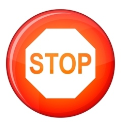 Stop sign icon flat style vector