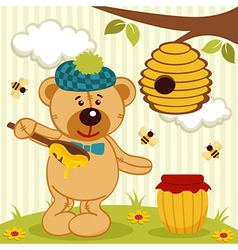 teddy bear near beehive vector image