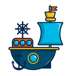 Toy sailing ship icon cartoon style vector