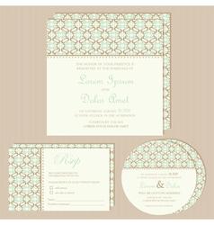 Vintage wedding invitations set vector