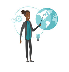 Young african businessman pointing at a globe vector