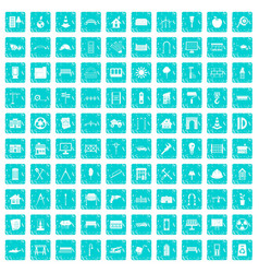 100 architecture icons set grunge blue vector