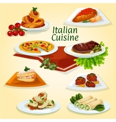Italian cuisine dinner icon with popular dishes vector