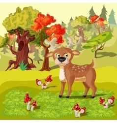 Forest deer cartoon style vector