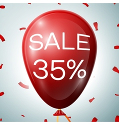Red baloon with 35 percent discounts sale concept vector