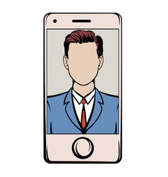 Smart phone with a skype video icon cartoon vector