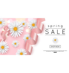 Spring sale banner template with daisy vector