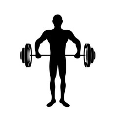 Black silhouette muscle man lifting a disc weights vector