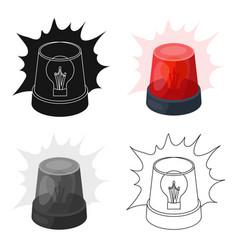 emergency rotating beacon light icon in cartoon vector image