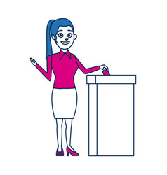 Woman casting her vote at the ballot box vector
