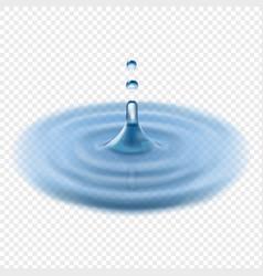 Falling water drop transparent realistic vector