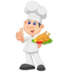 Chef cartoon with roasted chicken vector