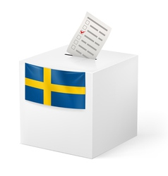 Ballot box with voicing paper sweden vector
