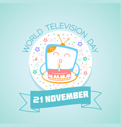 21 november world television day vector