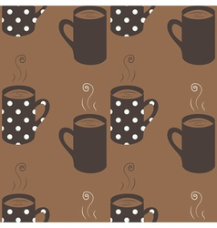 Seamless pattern with dotted coffee cups vector