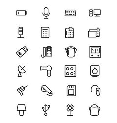 Electronics line icons 3 vector