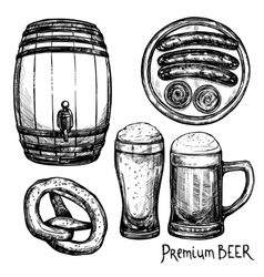 Beer sketch decorative icon set vector
