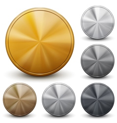 Set of golden silver and bronze coins vector