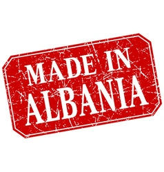 Made in albania red square grunge stamp vector