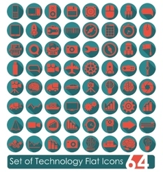 Set of technology flat icons vector
