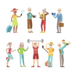Cool and active old people vector