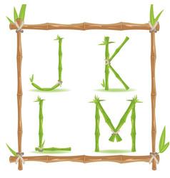 bamboo letter alphabet green set c vector image