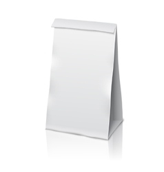 Blank white realistic paper packaging bag vector