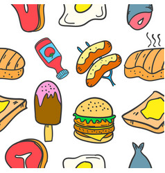 collection of food and drink style doodles vector image