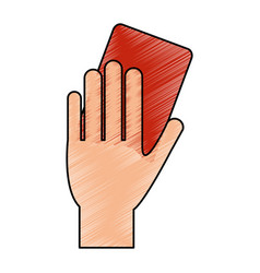 Color pencil cartoon hand with red card vector