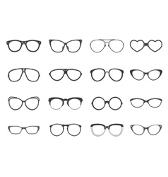 Eyeglasses set flat vector