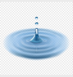 falling water drop transparent realistic vector image