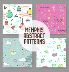 fashion hipster abstract memphis seamless patterns vector image