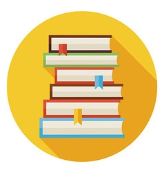 Flat books with bookmarks circle icon with long vector