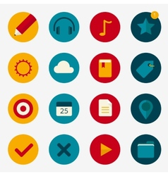Flat colourful icons with play and pin vector image vector image