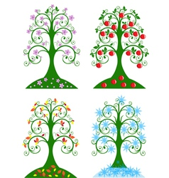 four seasonal tree vector image