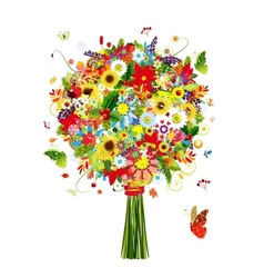 Four seasons bouquet with leaf and flowers for vector
