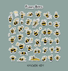 funny bee sticker set for your design vector image