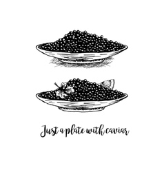 Hand drawn set of plates with black caviar vector image