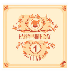 Happy birthday greeting card with cute bear vector