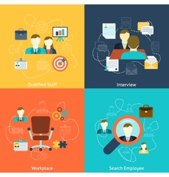 Human resources flat icons composition vector